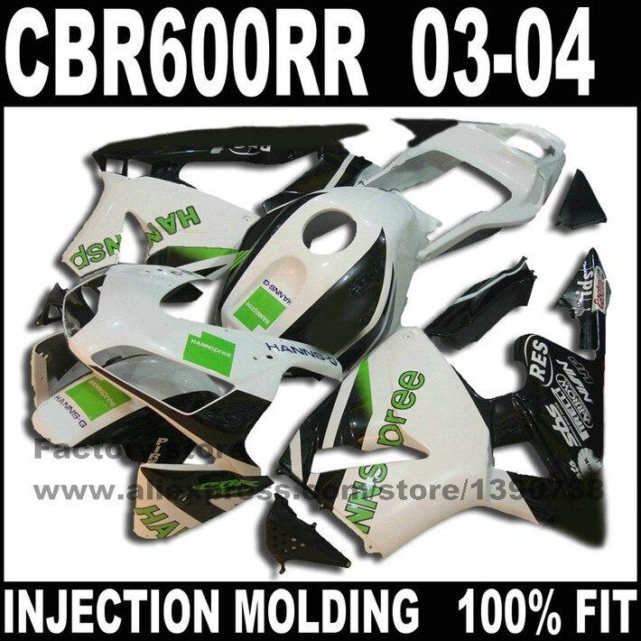 Пользовательские инъекций обтекатели наборы для 2003 2004 HONDA CBR 600 RR F5 CBR 600 RR CBR600 03 04 HANNSPREE мотоциклов обтекателя тела части