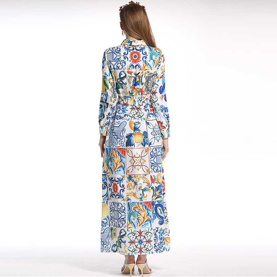 新しい磁器高級宮殿プリントロング A ライン 2018 XXL 夏のファッション長袖ヴィンテージ女性滑走路シャツドレス