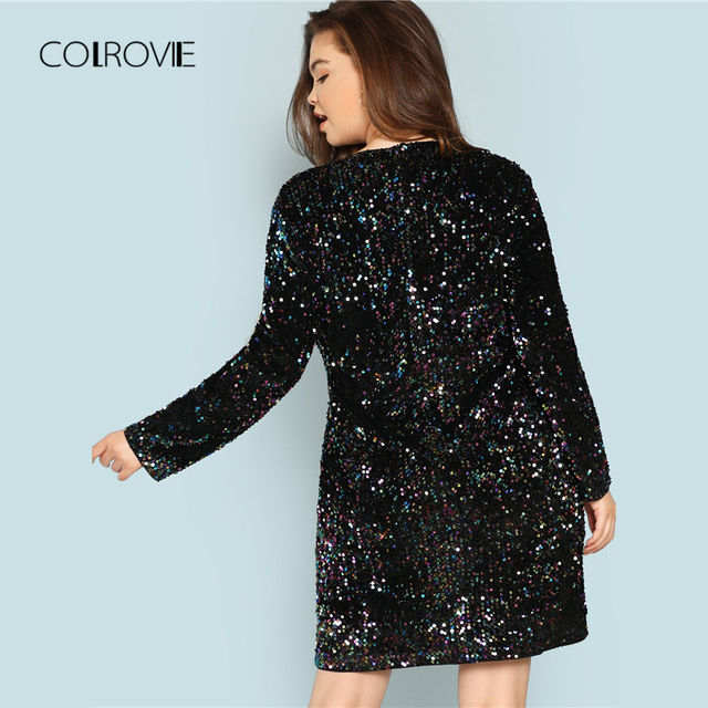 COLROVIE Plus Size Black V Neck Sequin Girls Sexy Dress Women 2018 Autumn Long Sleeve Party Dress Elegant Evening Mini Dresses 2