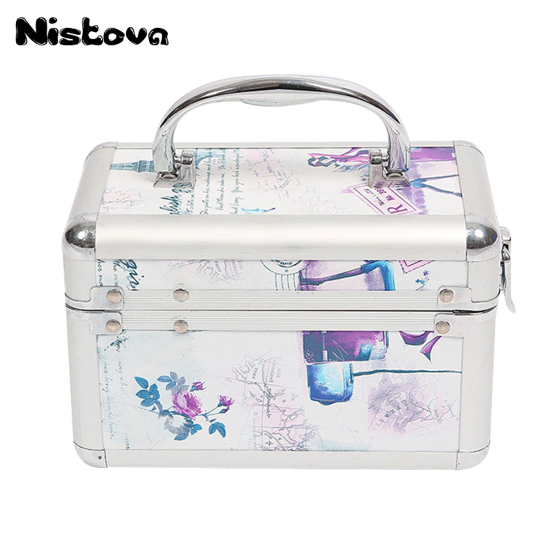 Women Professional Aluminum Makeup Case Portable Travel Jewelry Cosmetic Bags Organizer Beauty Vanity Brush Storage Box maange dropship leather cosmetic case portable storage makeup bags organizer brush holder cup pu material anne