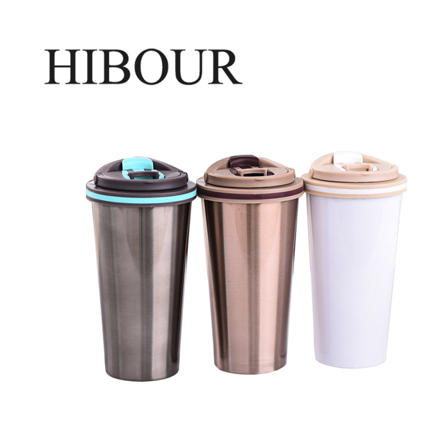 Hibour 304 Stainless Steel Beer Mugs Insulation Bilayer Car Thermo Bottle Cute Cup Coffee