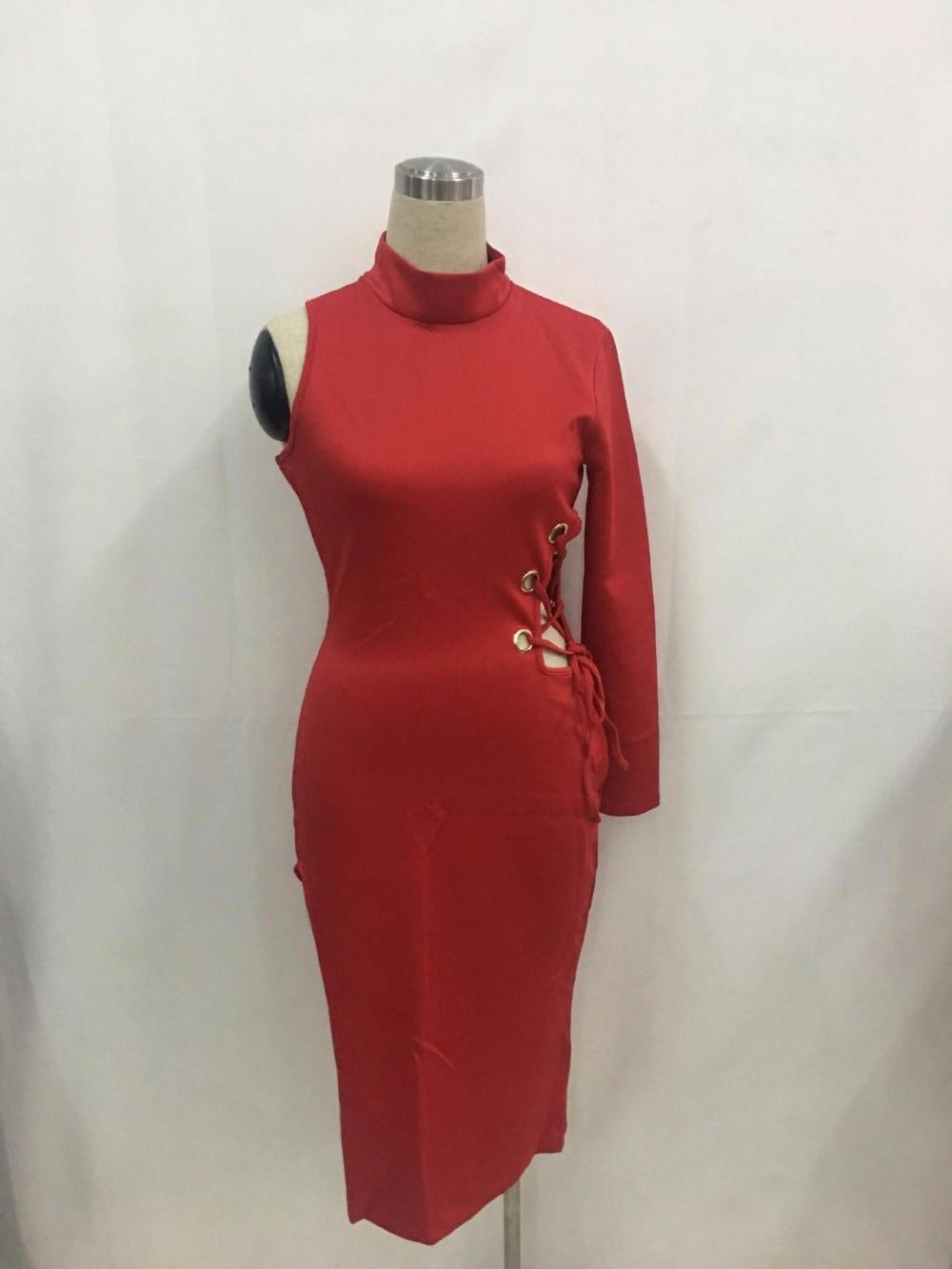 9bbdc650de25 Jrry casual collo alto una spalla slit abiti rossi donne di vendita caldo  dalla fasciatura di bodycon dress vestidos in Jrry casual collo alto una  spalla ...