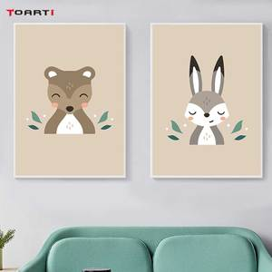 Image 4 - Forest Cartoon Animals Prints Posters Modern Wall Art Pictures Monkey Deer Fox Canvas Painting For Kids Nursery Room Home Decor