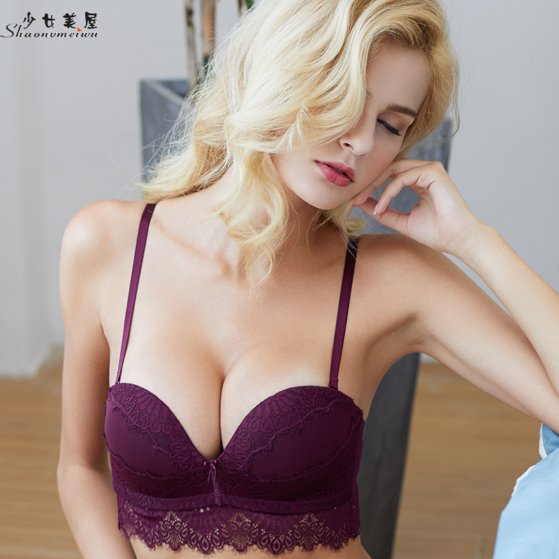 9f41ef09da Sexy lace lingerie on the thin under the thick bra with small boobs gathered  over the bra without steel band