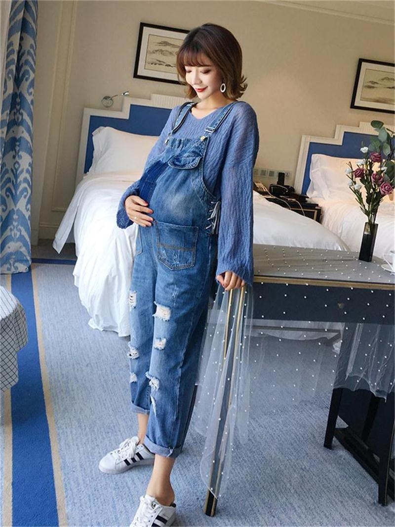 Maternity wear new denim overalls fashion hole casual stomach lift pants wear casual pants men s casual color printing zip fly straight legs denim pants