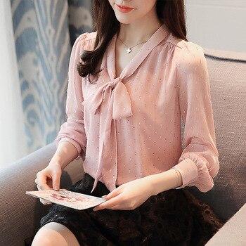 2018 new spring women Korean bow tie neck long sleeve shiny polka dots blouse pink white elegant ladies top female office shirt