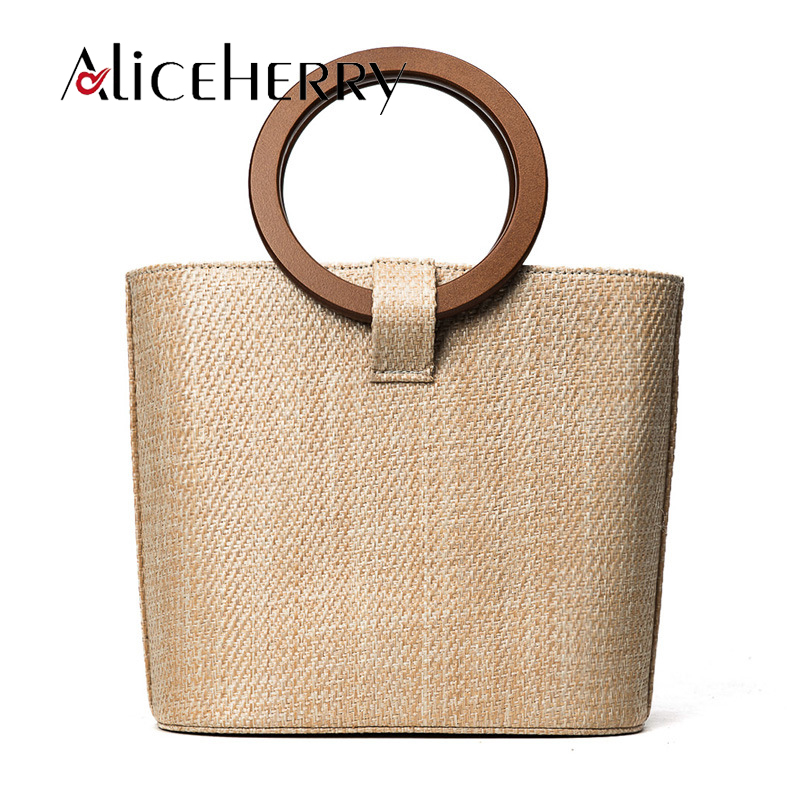 Women Fashion Brand Designer straw Shoulder Bag Feminina Rattan Handbag Casual Summer Beach Ring Crossbody Bag for Women Vintage