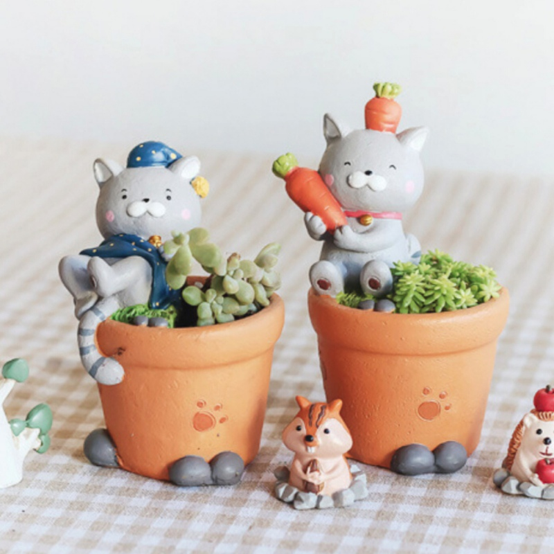 Creative Flower Pot Cartoon Cat Planter Resin Pots Succulent Plant Flower Pot Birthday Gift Home Garden Office Desktop Decor