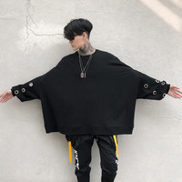 Hard rock punk hoodies men Batwing sleeve Loose Black Iron rings 2018 Spring Autumn Korean fashion