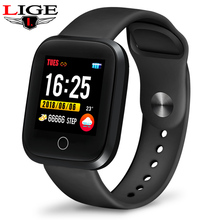 LIGE IP68 Waterproof Smart Bracelet Sport Fitness Tracking Blood Pressure Heart Rate Monitor Smart Wristband Pedometer watch Men