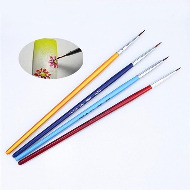 4pcs/set Pro Manicure Tools Kit For Natural Nails Fake Nails 3D Nail Soft Nylon UV Gel Nail Art Pen Wooden Nail Brush Liner For