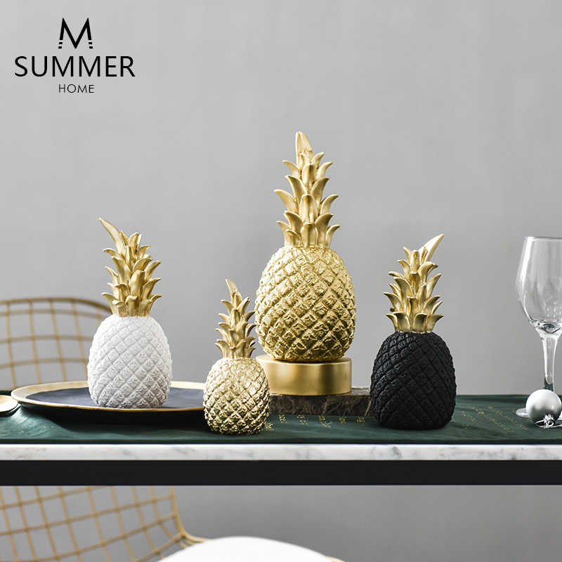 creative resin Golden pineapple statue home decor crafts room decoration objects ornament Simulation pineapple figurine gifts