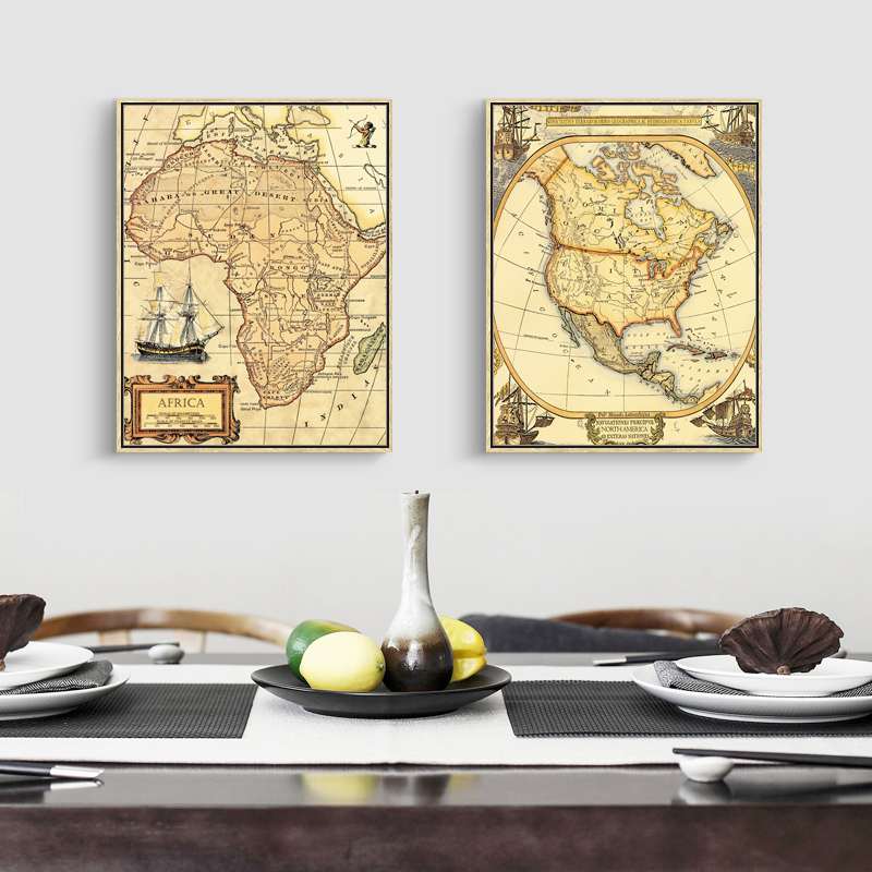 World map canvas painting vintage oil paint africa south america map world map canvas painting vintage oil paint africa south america map prints classroom decoration home wall art prints decor in painting calligraphy from gumiabroncs Choice Image