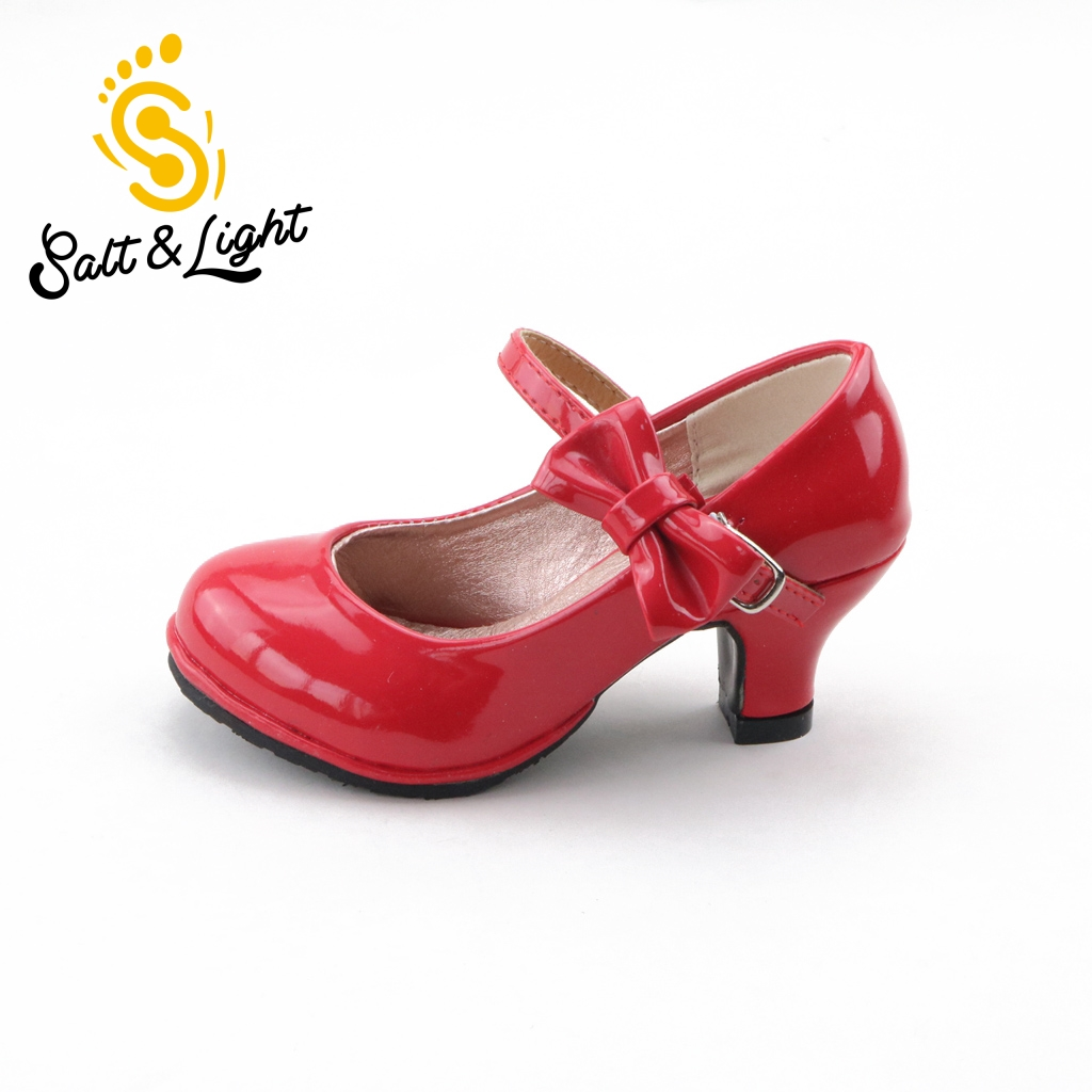 Crianças 2017 venda quente princesa sapatos meninas brilhantes sapatos de festa arco cor Sólida de alta-sapatos de salto alto da moda para as crianças size26-35