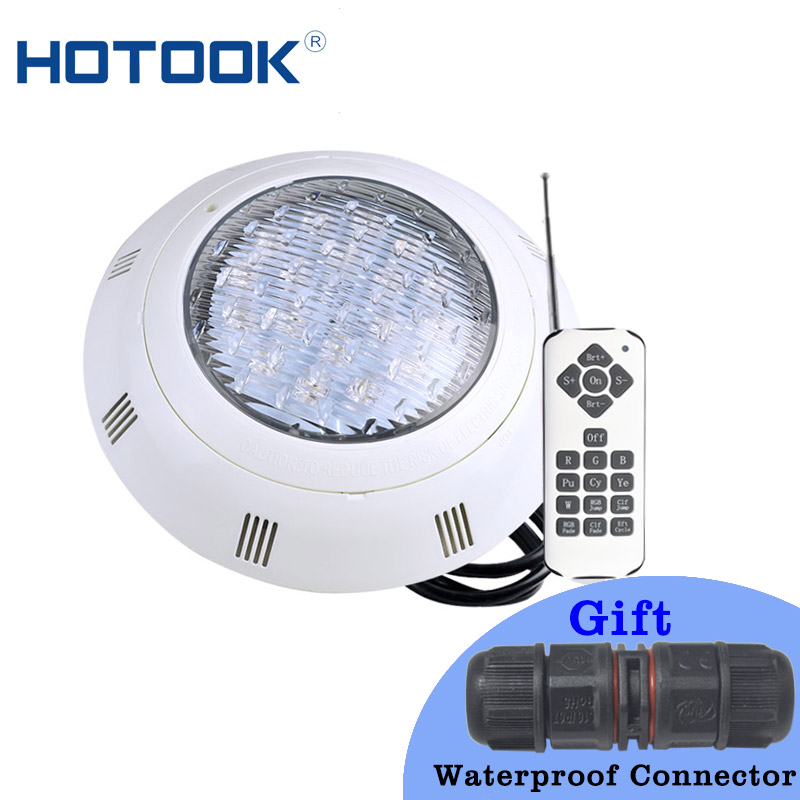 HOTOOK Underwater Light LED RGB Waterproof IP68 Swimming Pool Light AC12V Wall Mounted Submersible Pond Lamp With Wire Connector