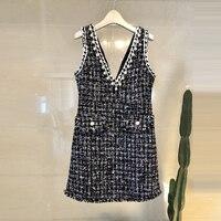 Aihuyigui 2019 spring new sleeve v neck slim vest dress tweed Straight pearls tassel Beading plaid dress DR242
