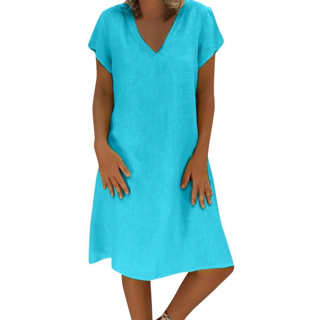Robe bohème coton lin grande taille bleu clair