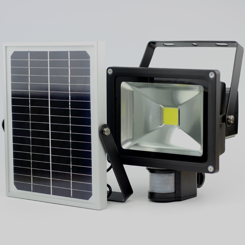 2019Hot salg 20W Solar Garden Light med bevegelsesdetektert Sensor LED Flood Light IP65 CE ROHS Aproved