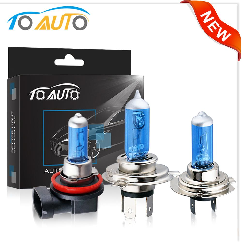 2pcs H1 H3 H4 H7 H11 9004 9005 HB3 9006 HB4 9007 55W 12V Halogen Car Headlight Bulbs Super Bright Auto Lamp Headlamp 5000K White