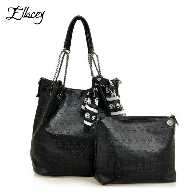2017 Vintage Designs Skull Bag Pu Leather With Silk Scarf Shoulder Female Bags Women Black Skull Handbags Ladies Casual Tote Bag