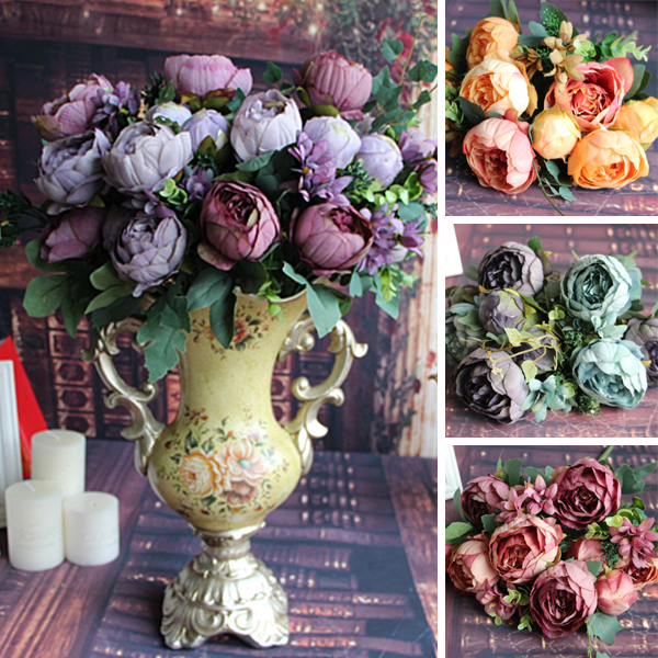 Artificial Fake Peony Silk Fl 12 Heads Flowers Bridal Bouquet Flower Arrangement Home Wedding Table Decor