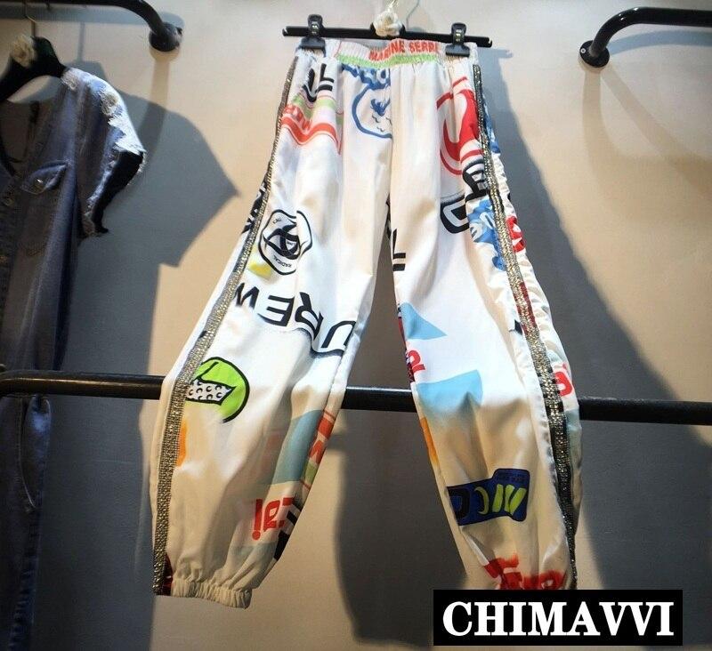 European 2019 Summer New Heavy Side Rhinestones Studded Elastic Waist Slimming Harem Pants Women Printed Chiffon Trousers