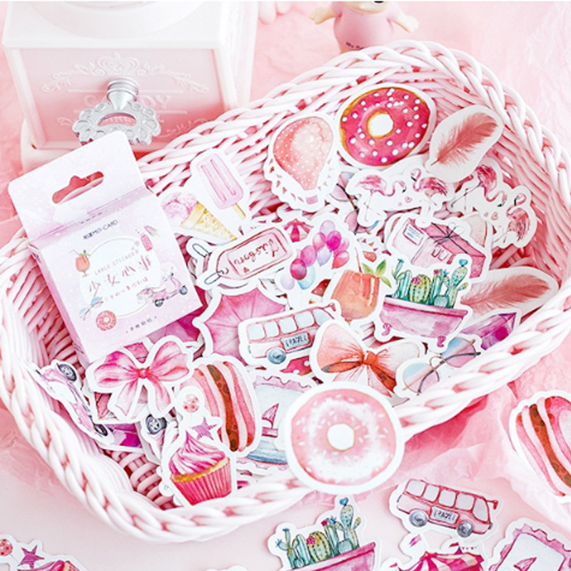 Купить с кэшбэком 46 pcs/lot Cute Girl Heart Series mini paper sticker Decoration DIY Scrapbooking Sticker Stationery kawaii label stickers