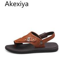 Akexiya Новый Летняя Мода Высокое Качество Натуральная Кожа Мужчины Сандалии, Мужская мода Летняя Обувь