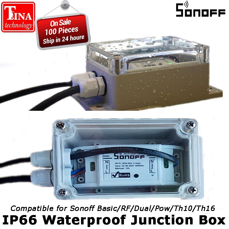 Sonoff IP66 Waterproof Junction Box Water-resistant Shell Waterproof Case Support Sonoff Basic/RF/Dual/Pow for Xmas Tree Lights