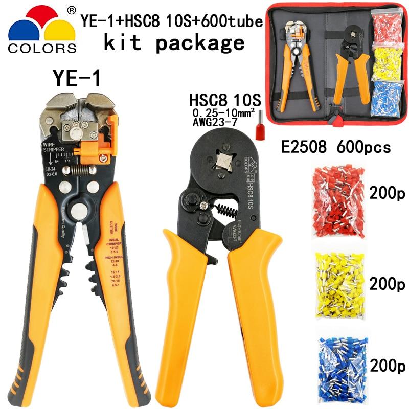 Handwerkzeuge Selbstlos Farben Kit Hsc8 10 S 0,25-10mm2 Crimpen Zangen Multifunktionale Strippen Cut Draht Zangen Anzug Rohr Terminal 600 Stücke E2508 Werkzeuge Werkzeuge