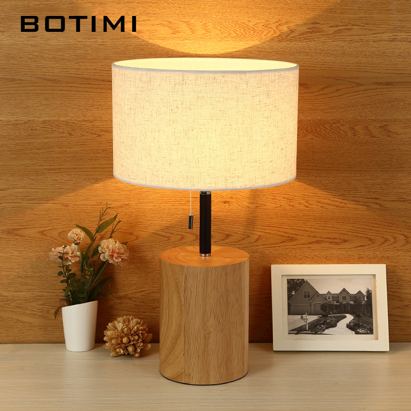 BOTIMI Nordic Wooden LED Table Lamp For bedroom Hotel Cloth Lampshade Bedside Lamps Home Study Reading Lighting E27 Book Lights modern table lamps bird metal art design reading light bedroom bedside lights lampshade home lighting led nordic lamp table