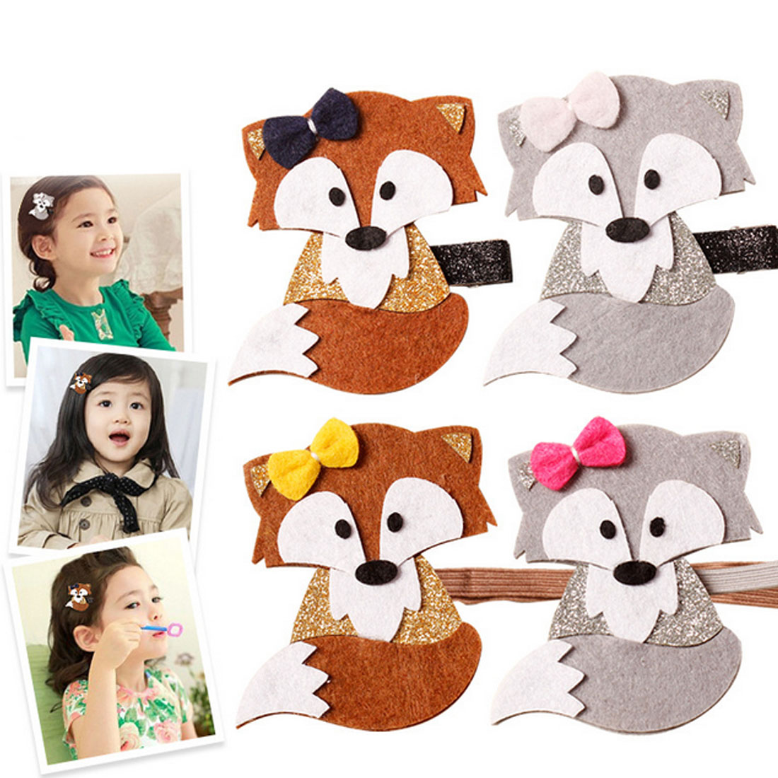 Newly Design Fashion Cute Cartoon Fox Baby Hairpins Princess Barrette Kids Hair Clips Children Headwear Girls Hair Accessories minnie mouse ears baby girl hair clip children clips accessories kids cute hairclip for girls hairpins hair clips pins menina
