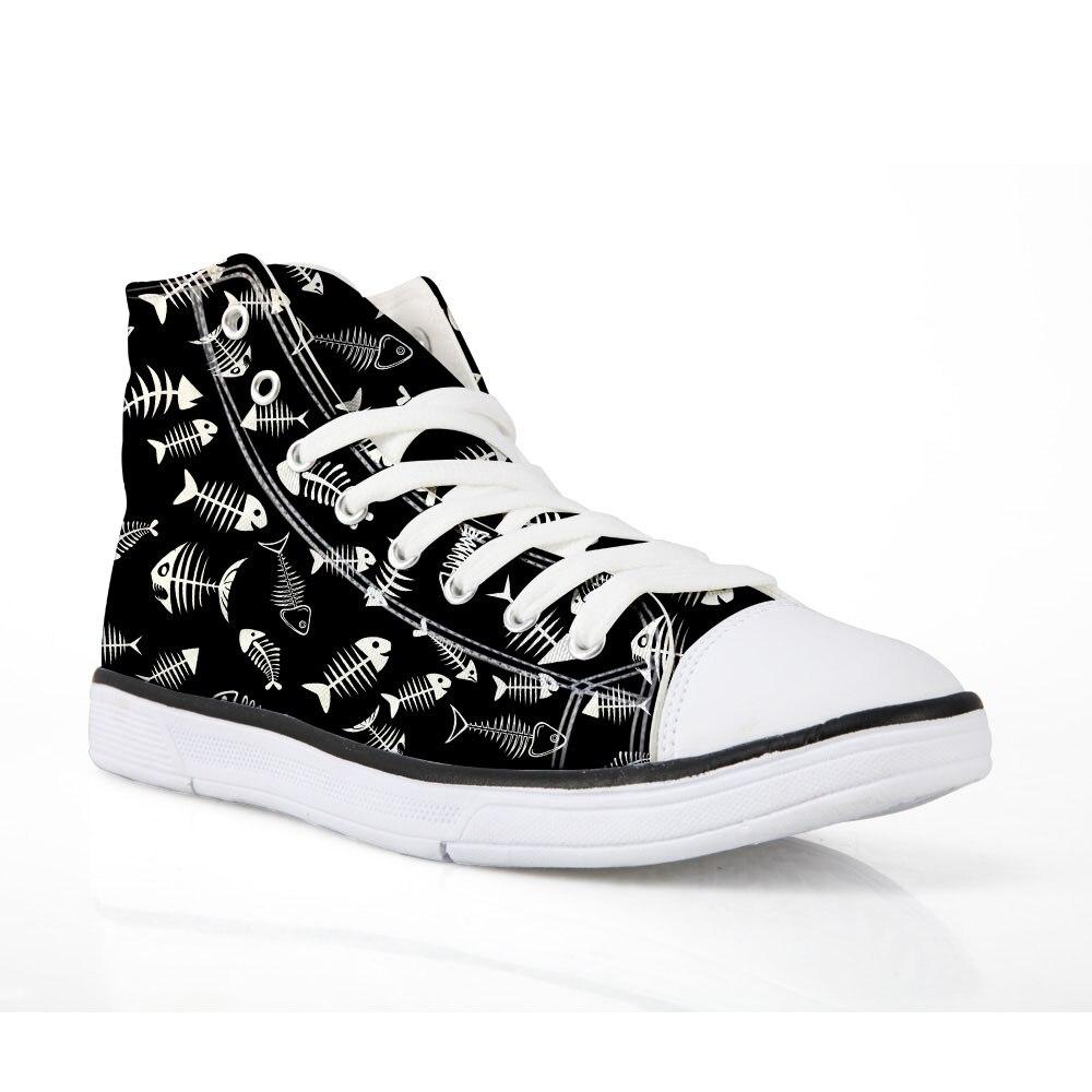NOISYDESINGS Women Shoes Flats Cool Kitty Fish Bone Print Shoes Casual shoe shose Womens Classic Canvas Sneakers lace up shoe