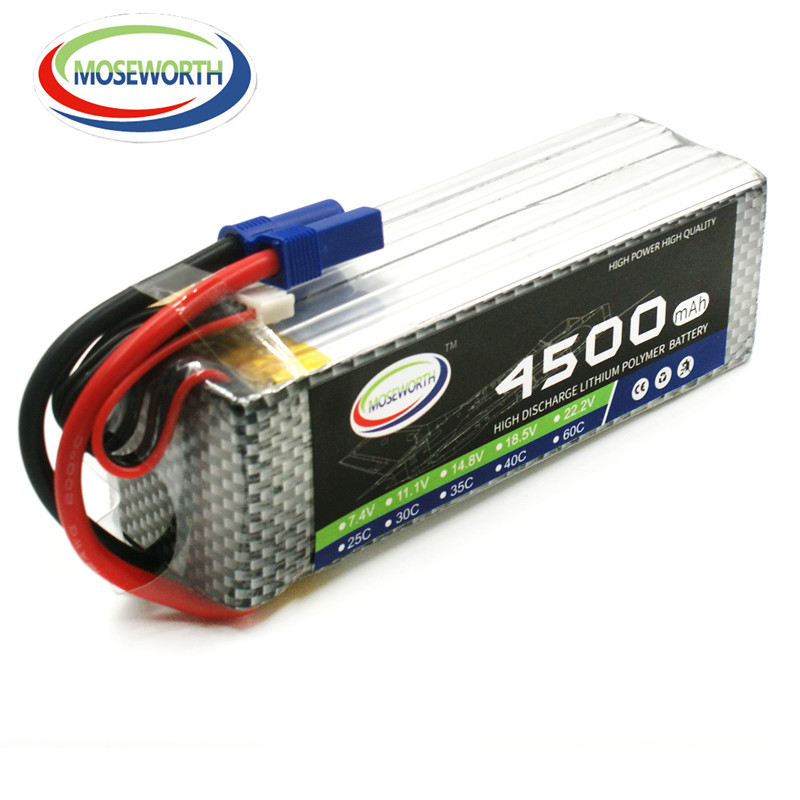 MOSEWORTH 6S 22.2V 4500mah 40C-80C RC Airplane LiPo Battery for Aircrft Quadrotor Helicopter Drone AKKU 6S Li-ion Batteria