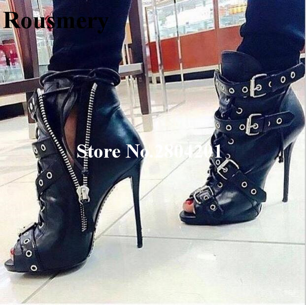 Rousmery Sexy Short Motorcycle Boots Open Toe Ankle Strap Cross-tied Stiletto Heel Buckle Strap Rivet Studded Women Shoes
