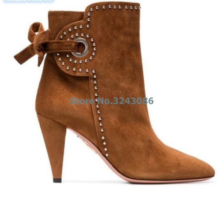 Brown Suede Rivet Back Butterfly-knot Spike Heels Boots Pointed Toe Side Zipper Ankle Boots Casual Spring Autumn Women Shoes   Brown Suede Rivet Back Butterfly-knot Spike Heels Boots Pointed Toe Side Zipper Ankle Boots Casual Spring Autumn Women Shoes