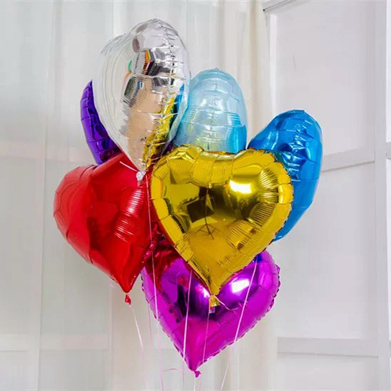 5pcs Lot Heart Ballons 10inch Event Shaped Foil Balloon Large Love Wedding Happy Birthday Party Decoration Globos Air Balloons In Accessories From