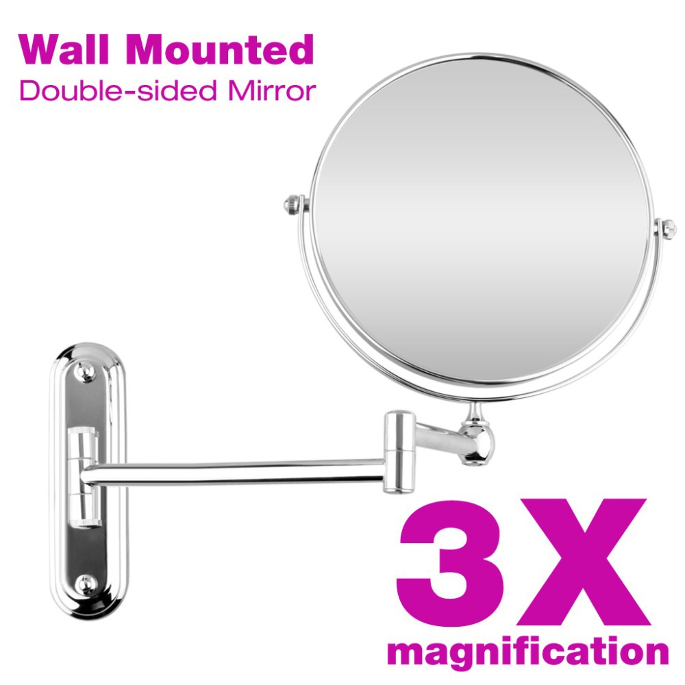 Chrome Wall Mounted 8 Inches 3x Magnification Mirror
