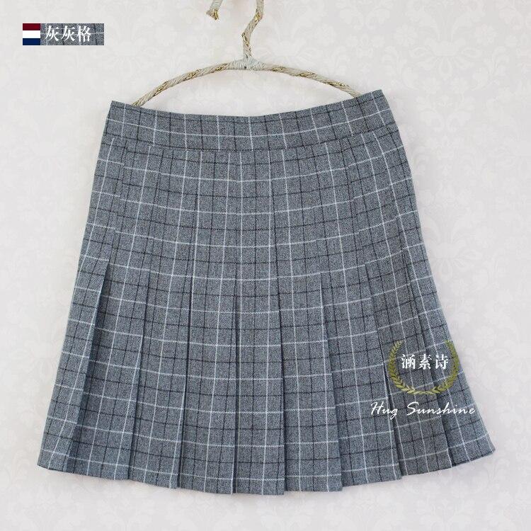 A-line Plaid pleated փեշ Միասնական բարձր իրան - Կանացի հագուստ - Լուսանկար 3