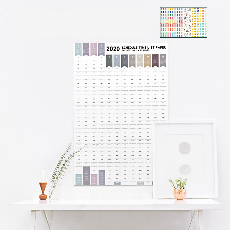 2019/2020 Yearly Calendar 365days Agenda Daily Planner Organiser Annual Schedule Daily With Sticker Dots Wall Planner Stationery
