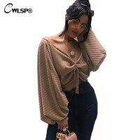 CWLSP 2017 Autumn Winter Tie Front Open Blouse Women Long Lattern Sleeve Two Wearing Styles Crop