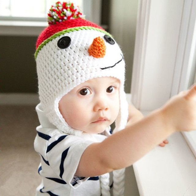 Hot Neugeborenen Weihnachten Cap Kinder Häkeln Soft Stricken Kostüm