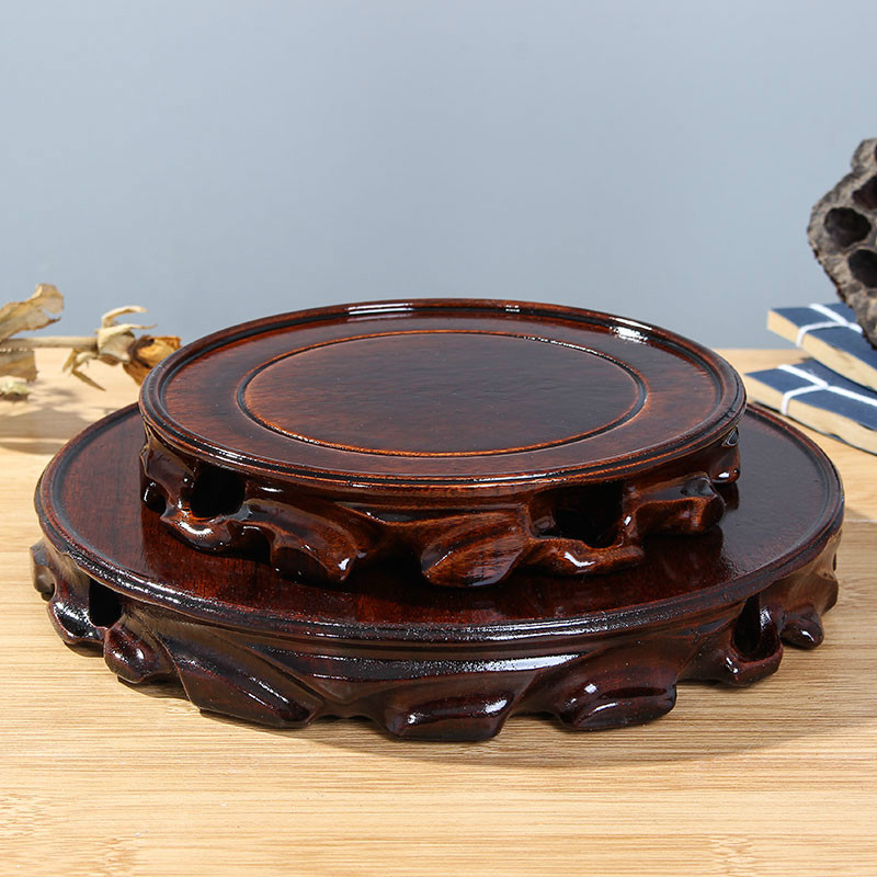 stand display solid wood For teapot vase Buddha Ebony woodcarving round base