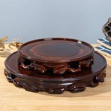 6-30cm Diameter Real Solid Wood Carving Vase Base Stone Buddha Incense Flowerpot Wood Carving Teapot Base