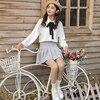 Youg Blouse Blusa Tie Long Sleeve Solid Chiffon Shirt Female Spring Summer 2018 New Korean Pure