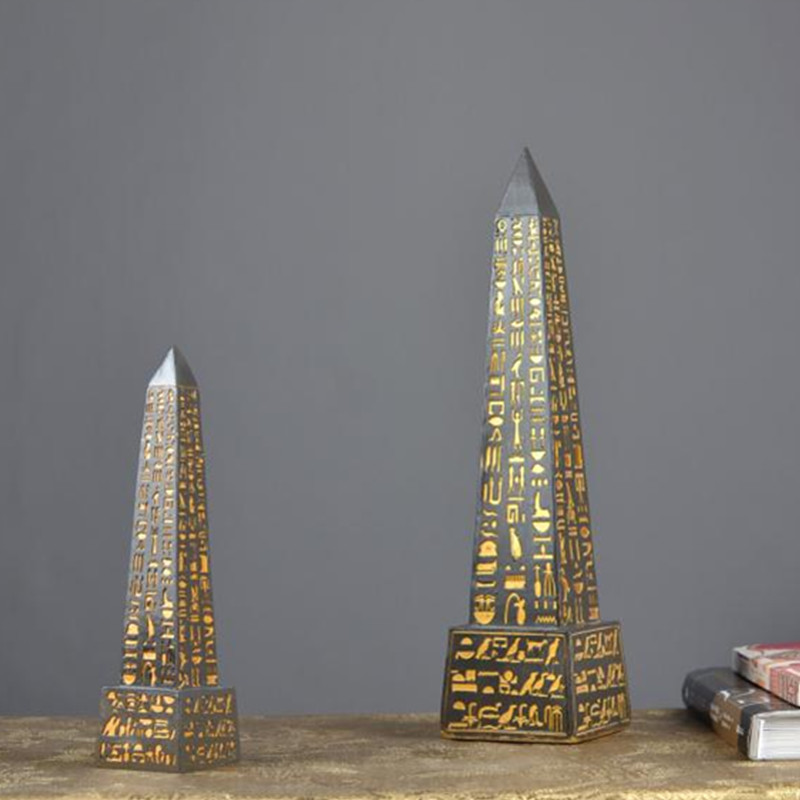 Ancient Egypt Obelisk Home Decorations Resin Craftwork Egypt Style Figurines Creative Office Desktop Decoration Monument X1836