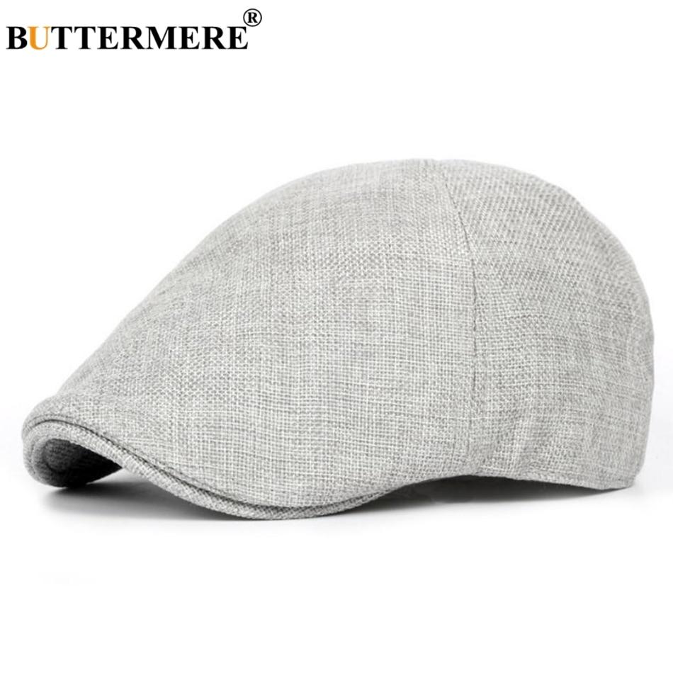 Летняя плоская кепка BUTTERMERE, мужские серые льняные береты, Мужская винтажная эластичная шапка для водителя, британский стиль, дышащая Класси...