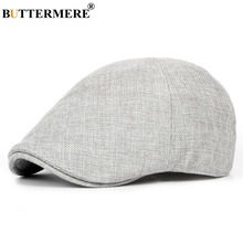 BUTTERMERE Summer Flat Caps Men Gray Linen Berets Male Vinta