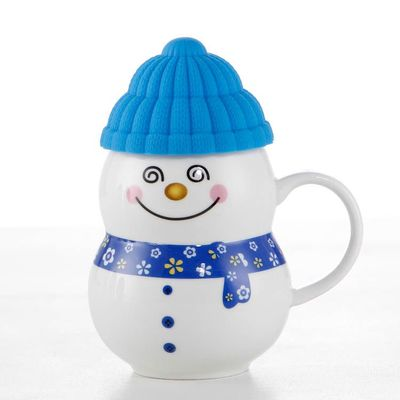 Snowman mugs Ceramic cute mark Christmas Gifts Drinking mug Children Super sparkling breakfast milk cake with lid
