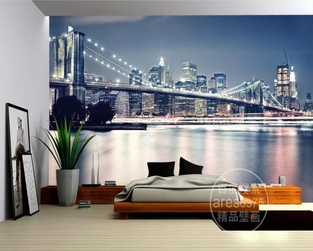 US $25.0 |Kundenspezifische große wandbilder, Modern fashion New York  Brücke tapete, wohnzimmer sofa TV wand jungen schlafzimmer tapete papel de  ...